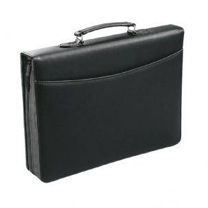 A4 PU Faux Leather Zipped Briefcase Personal Organiser - Carrier Handle with 4 Ring Binder